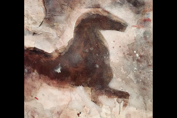 cheval au galop-mixed media-clotilde hulin